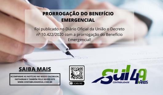 Decreto nº 10.422/2020 com a prorrogação do Benefício Emergencial!