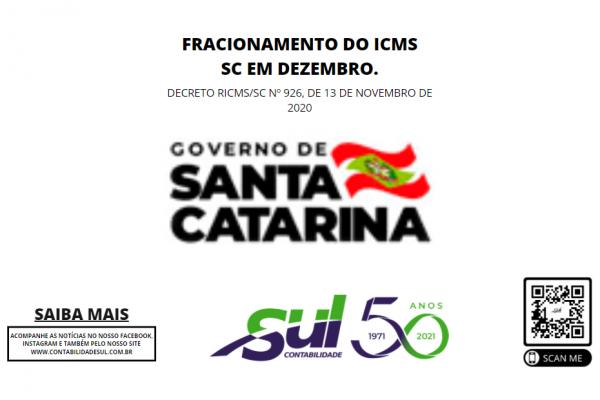 Fracionamento do ICMS SC em Dezembro.