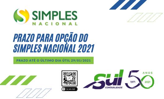 Prazo para opção pelo Simples Nacional 2021